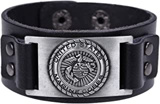 cooltime US Marine Corps Genuine Leather Bracelets Wrist Cuff for Men