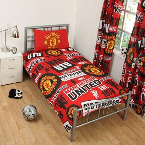 OFFICIAL MANCHESTER UNITED FOOTBALL DUVET QUILT MAN UTD BED SET Single Double MUFC, (BLACK, SINGLE)