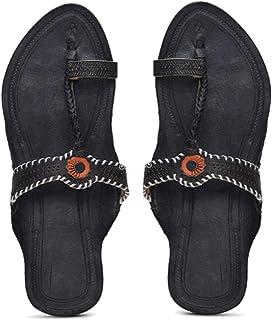KALAPURI� Ladies Kolhapuri Chappal in Genuine Leather with Black Pointed Shape Base and Tiny Black Upper. Handmade in Kolh...