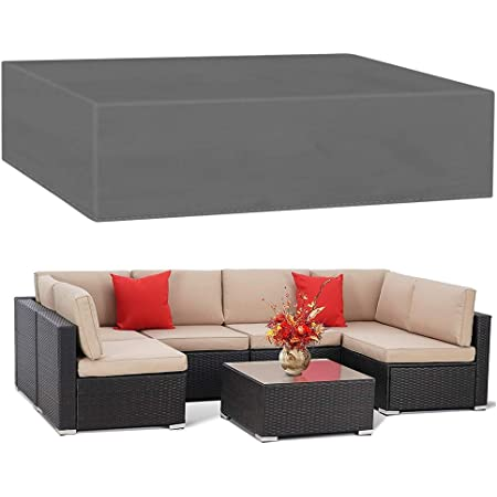 Garden V Shape Furniture Covers Patio Waterproof Sofa Cover Large Outdoor Sofa Furniture Couch Cover Dustproof with Storage Bag 215 82 Black 215