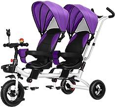 LBBGM Cochecito de bebé Gemelo Triciclo Doble para niños Sillas de Paseo Ligeras y Transpirables para niños pequeños Buggies Dobles para niños Desde el Nacimiento hasta los 4 años, A