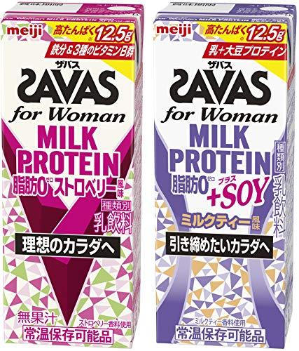 【セット買い】ザバス ミルクプロテイン 脂肪0 ストロベリー・SOYミルクティー風味 2種 各1ケース【200ml×48本】セット