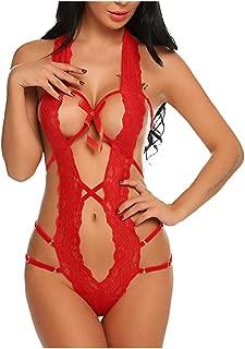 Ackful Open Back Hollow Pajamas Women Lace Underwear Thongs Jumpsuit Bodysuit Lingerie