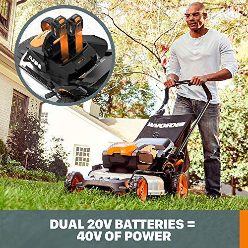 WORX WG751 40V 19'' Cordless Lawn Mower, 2 Batteries & Charger Included, Black and Orange
