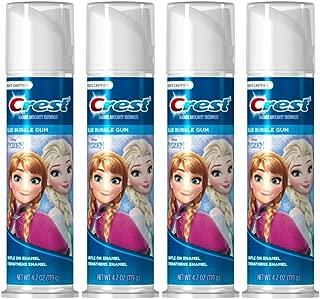 Disney's Frozen Crest Kid's Cavity Protection Toothpaste, Blue Bubble Gum, 4.2 Ounces Each (Value Pack of 4)