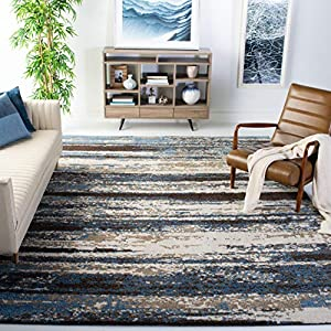 Safavieh Retro Collection RET2138 Modern Abstract Non-Shedding Stain Resistant Living Room Bedroom Area Rug, 8′ x 10′, Cream / Blue