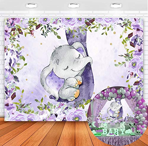 Sensfun Purple Floral Elephant Baby Shower Backdrop Girl Elephant Baby Shower Party Decoration Supplies Elephant It's A Girl Photography Background Cake Table Banner Photo Props (5x3ft)
