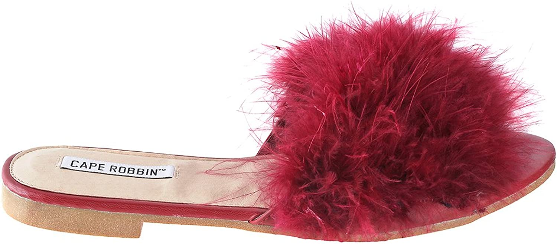 Cape Robbin Sandals-1 Women Flip Flop Fur Slide Slip On Flats Sandals shoes Slippers Mule Burgundy