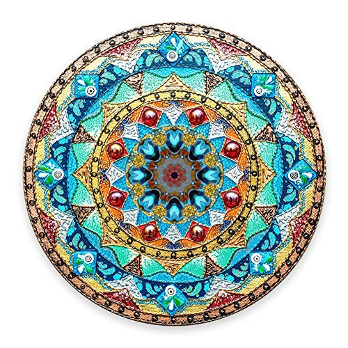 """Coseevel Beautiful Oil Painting Watercolor Style Mandala Flower Background, Non-Slip Rubber Round Mouse Pad Perfect for Working and Gaming 7.9""""x0.12"""" Inch"""