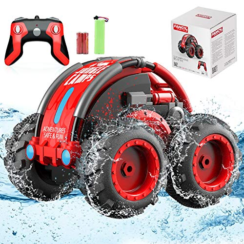 AMENON Remote Control Car, Amphibious Waterproof RC Stunt Car Toys, 3 in 1 RC Car Boat 4WD 2.4Ghz Rechargeable 360° Rotating Off Road Truck Toys for Boys Girls 6 Years Old & Up Holiday Xmas Gifts
