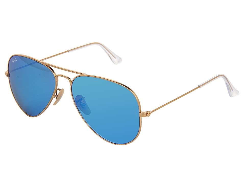 Ray-Ban RB3025 Original Aviator 58mm (Matte Gold/Blue Mirror) Metal Frame Fashion Sunglasses