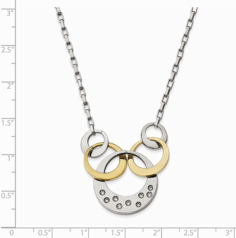Stainless Steel Yellow IP CZ Cubic Zirconia Circle Pendant Necklace Charm Chain with Secure Lobster Lock Clasp