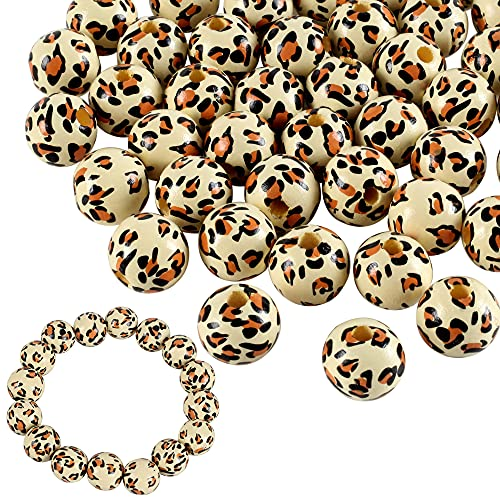 100 Pieces Leopard Wooden Beads Personalized Leopard Painted 16 mm Wood Beads Round Loose Polished Wooden Bead for Garland Home Decor Jewelry Making and DIY Crafting (Brown Leopard)