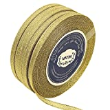 VATIN 5 Rolls 125-Yards Glitter Metallic Gold Ribbon 1/4 inches Sparkly Fabric Thin Ribbon for Gift Wrapping Wedding Party Brithday Floral Projects