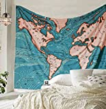Shukqueen Blue Ocean Current World Map Tapestry Wall Art Hanging Tapestry Dorm Decor(148X200cm, Map)