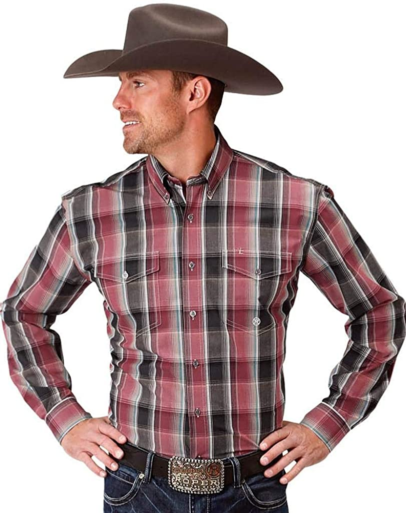 Roper Western Shirt Mens L/S Plaid Button Red 03-001-0678-6070 RE