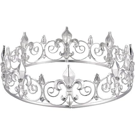 Eseres Silver Men Crown Full Round Fleur De Lis Prom King Crown for Birthday