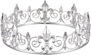 Eseres Men's Full Round Fleur De Lis King's Crown (Silver Plated)
