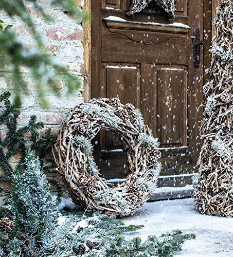 Deko Kranz Winterzauber aus Rebenholz, Ø 70 cm, Türhänger, Adventsdeko, Weihnachtsdeko