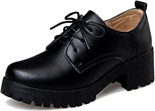 Dames Oxford schoenen met vierkante hak Herfst Britse stijl splitleer pompen Elegante veterschoenen met ronde neus Office ...