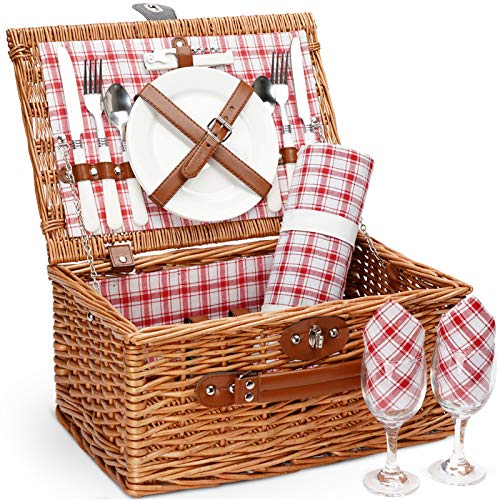 Picnic Basket for 2,Picnic Set Hamper with Waterproof Picnic Blanket, Willow Picnic Service Gift Set for Camping, Outdoor, Valentine Day, Thanks Giving, Birthday, Chiristmas.