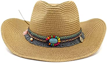 XHCP Straw Cowboy Hat Men Women Sun Hat Beach Cap Western Outback Cowgirl Hat Wide Brim Colorful Beads Chic Sun Protection with Chin Strap Outdoor Travel