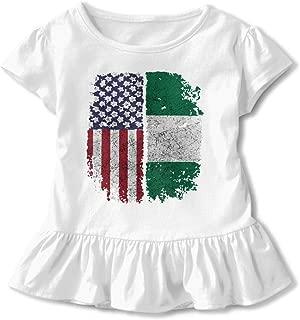 American Nigerian Nigeria African Toddler Baby Girls Dress Cozy Ruffles T-Shirt Short-Sleeved for 2-6T