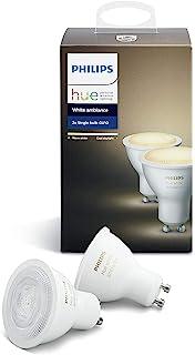 Philips Hue White Ambiance Bombillas LED, GU10, 5.5W, Luz blanca cálida a fría, 2 bombillas