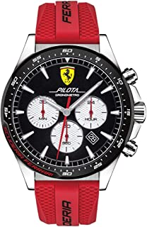 Ferrari Pilota, Quartz Stainless Steel and Silicone Strap Casual Watch, Red, Men, 830596
