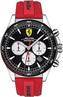 Ferrari Men's Pilota Stainless Steel Quartz Watch with Silicone Strap, Red, 22 (Model: 0830596)