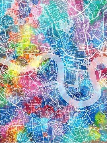 Poster 50 x 70 cm: London Stadtkarte von Bekim Mehovic - hochwertiger Kunstdruck, neues Kunstposter