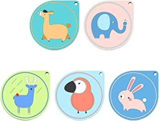 DOITOOL Coasters for Drinks 5 Pcs Cartoon Round Coaster PVC Heat Insulation Placemat Non-Slip Leather Pad Coaster for Home Restaurant Cafe (Corners, Random Style)