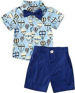 Geagodelia Ensemble de Vêtement d'Été Bébé Garçon T-Shirt Chemise à Manches Courtes Flamingo Boutonnées avec Nœud Papillon...