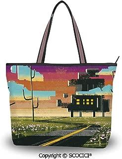 SCOCICI Tote Bag Oversized Shoulder Handbag Purse Letter G,Exotic Colorful Butt
