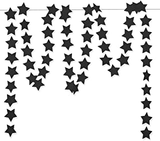 Aonor Glitter Black Star Hanging Garland - Twinkle Paper Star Banner for Festival Home Wall Decoration, Birthday Party, Kids Room, 2.8