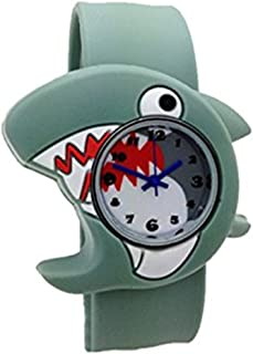 Cute Cartoon Slap Watch Shark Design with Bendable Silicone Strap Wristwatches For Children