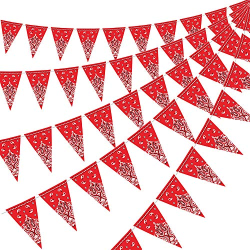 5 Packungen Bandana Wimpel Banner, Wild West Party Zubehör für Western Cowboy Party Dekoration, 7,4 x 10,8 Zoll