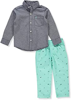 015cd1e6a Carter's Boys' 12 Months- 5T 2-Piece Chambray Shirt and Printed Pants Set