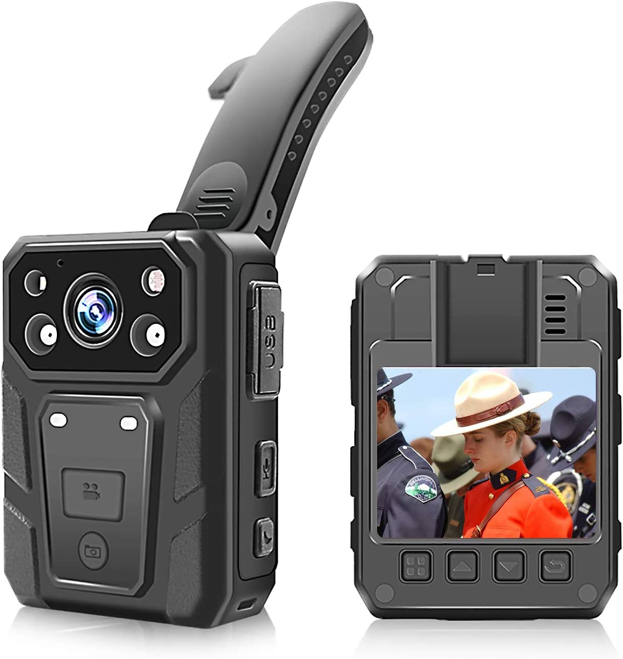 CAMMHD Body Camera with Audio and Video Recording Wearable, 64 GB Memory, Waterproof and Auto Night Vision,15 Hours Recording