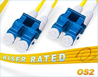 FiberCablesDirect 10M OS2 LC LC Fiber Patch Cable | Duplex 9/125 LC to LC Singlemode Jumper 10 Meter (32.8ft) | Length Options: 0.5M-300M Alt: ofnr lc-lc single-mode dup lc/lc sm dx yellow