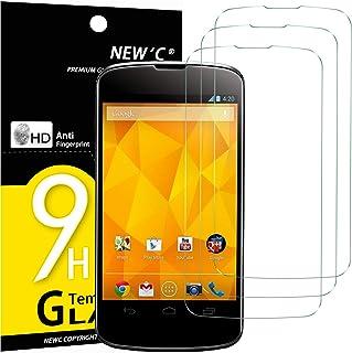 NEW'C 3-pack skärmskydd med LG Google Nexus 4 – Härdat glas HD klar 9H hårdhet bubbelfritt