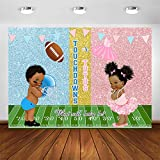 Avezano Touchdowns and Tutus Gender Reveal Backdrop Boy or Girl He or She Gender Reveal Party Decorations Photography Background Glitter Pink or Blue Baby Reveal Party Banner Phootshoot (8x6ft)