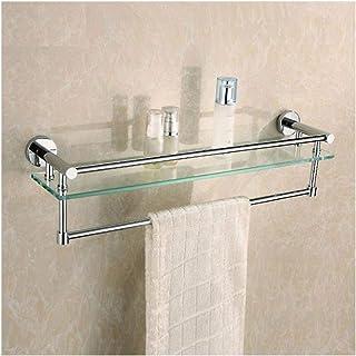 Support de coin for salle de bains, 2 tablettes en verre trempé, panier de rangement for organisateur de douche carrée for...