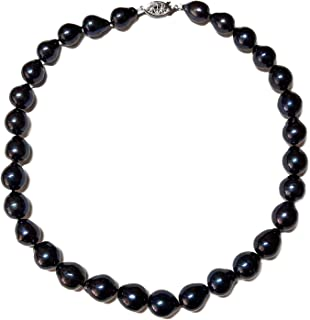 10-12mm Black Baroque Freshwater Cultured Pearl Necklace for Women AA+ Quality Sterling Silver Clasp - PremiumPearl