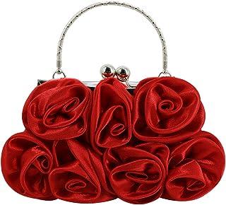 Buddy Damen Clutch aus weichem Satin, Rosen-Form, Handtasche, für Hochzeit, Party, Geldbörse