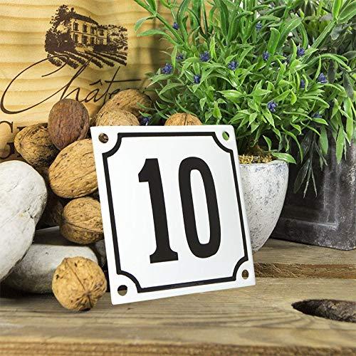 Emaille huisnummerbord - selecteer uw nummer - cijfers 1 tot 99 beschikbaar - wit/zwart 10x10 cm - direct leverbaar! Huisnummerplaatje weerbestendig 10