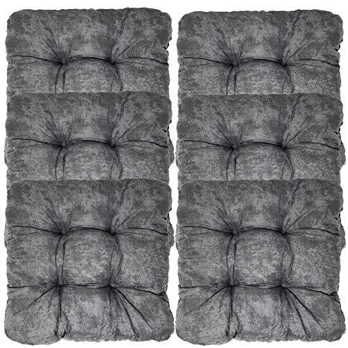 JEMIDI 6er Pack Stuhlkissen Stuhl Sitzkissen 38cm x 38cm x 8cm stark gepolstert für Indoor und Outdoor (6er_Anthrazit)