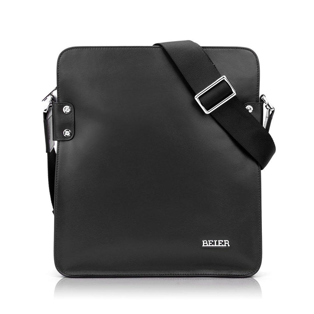 BEIER Bellトップレイヤーレザーハイエンドショルダーバッグブティックメンズヨーロッパおよびアメリカのファッション男性カジュアル対角線バッグのビジネスバッグ韓国語バージョン(yaブラック)