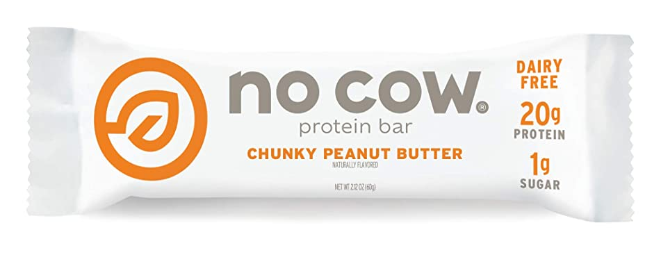 No Cow Protein Bar, Chunky Peanut Butter, 21g Plant Based Protein, Keto Friendly, Low Sugar, Dairy Free, Gluten Free, Vegan, High Fiber, Non-GMO, 12 Count