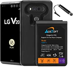 [LG V20 Extended Battery Case] High Capacity 10900mAh Replacement Extended Battery Soft TPU Full Edge Protection Case for LG V20 H918 (Up to 3X Extra Battery Power) Phone - Black
